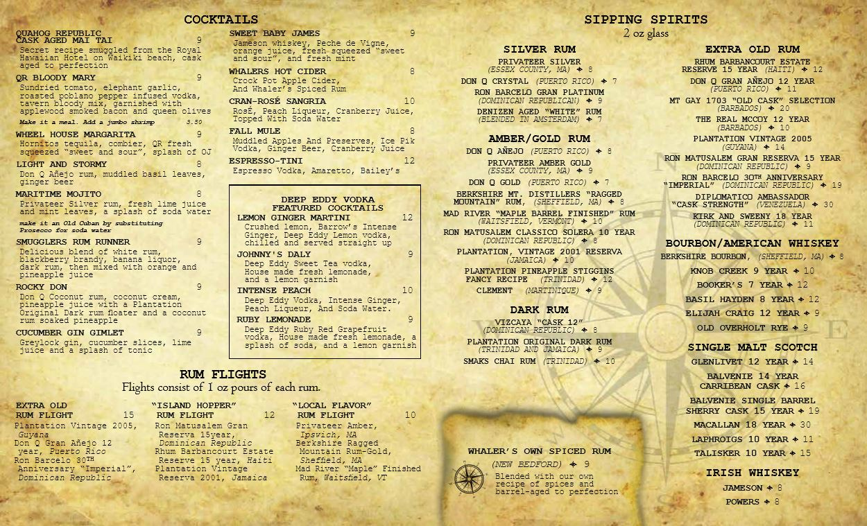 Plymouth Tavern Drink Menu